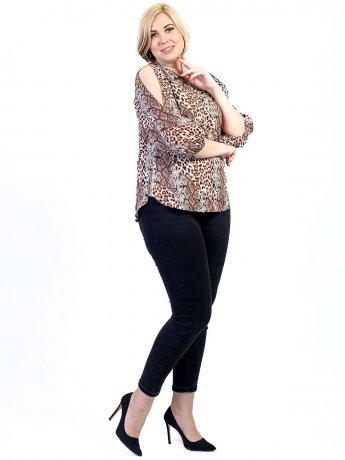 Принтованная блуза size+ с вырезами на рукавах 2706