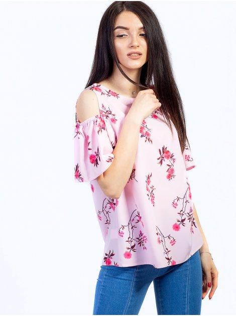 Легкая блуза с оригинальными вырезами на плечах 2736
