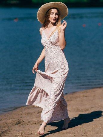 Длинное платье в горошек на брителях 2738