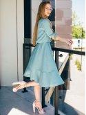 Платье с воланом по низу и завязками на рукавах 2742