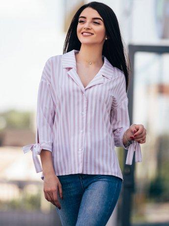 Оригинальная рубашка в полоску с завязками на рукавах 2661