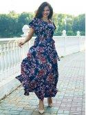 Длинное платье size+ из легкой ткани с цветочным принтом 2720