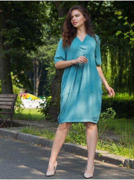 Свободное платье size+ с V-образным вырезом и карманами 2715