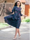 Женственное клетчатое платье 2756