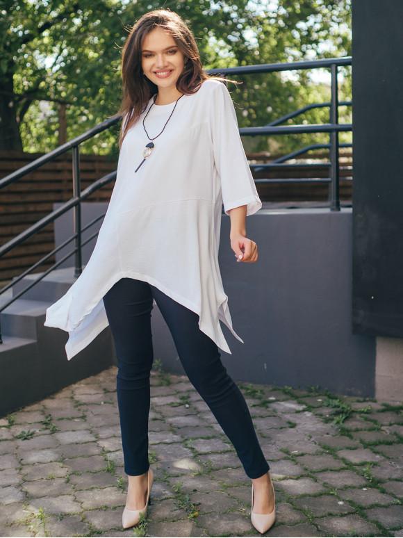 Блуза size+ з асиметричним низом і кулоном 2714