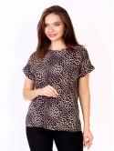 Легкая блуза size+ с разрезами по бокам в анималистичный принт 2696