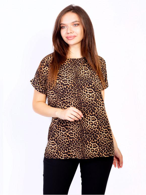 Легка блуза size+ з розрізами по боках в анімалістичний принт 2696