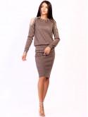 Костюм: шикарная кофта с вырезами на плечах и жемчугом + юбка приталенного силуэта. Арт.2504