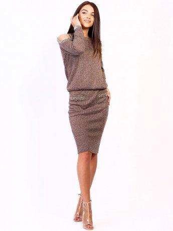 Костюм: шикарна кофта з вирізами на плечах і перлинами + спідниця приталеного силуету. Арт.2504