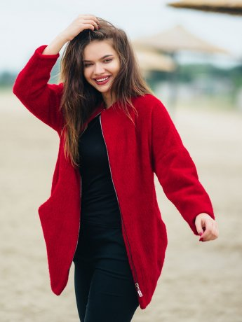 Шерстяное пальто на замке 2768