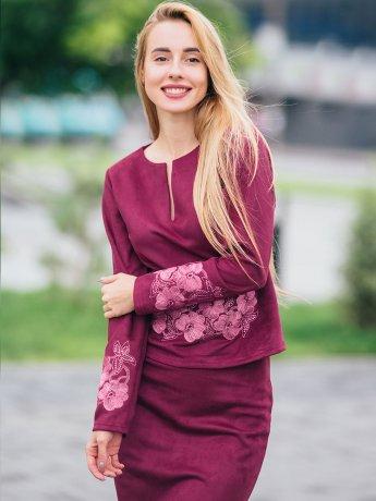 Костюм: кофта с вышивкой и юбка карандаш  2766
