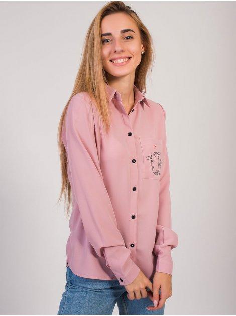 Блуза с вышивкой на кармане 2792