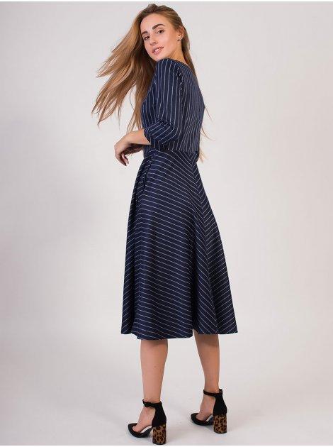 Платье миди в полоску 2815