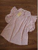 Блуза в горох с рюшами на рукавах и воротником. Арт.2304