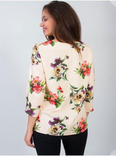 Шикарная блуза size+ из принтованной ткани в цветок с четвертным рукавом. Арт.2617