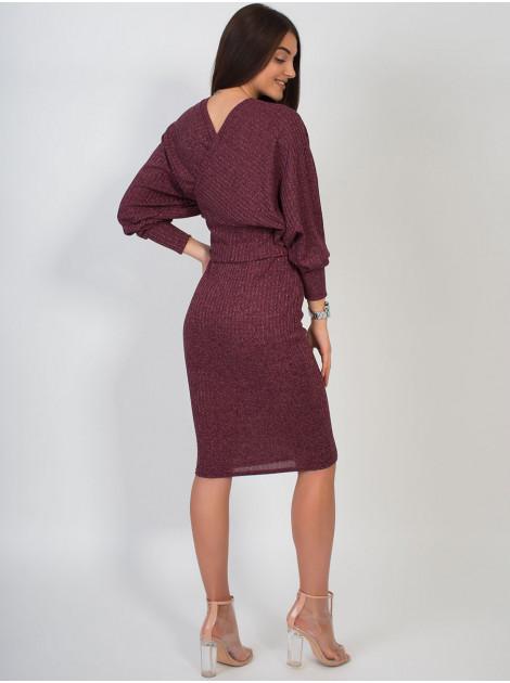 Женственное платье из фактурной ткани с поясом. Арт.2635