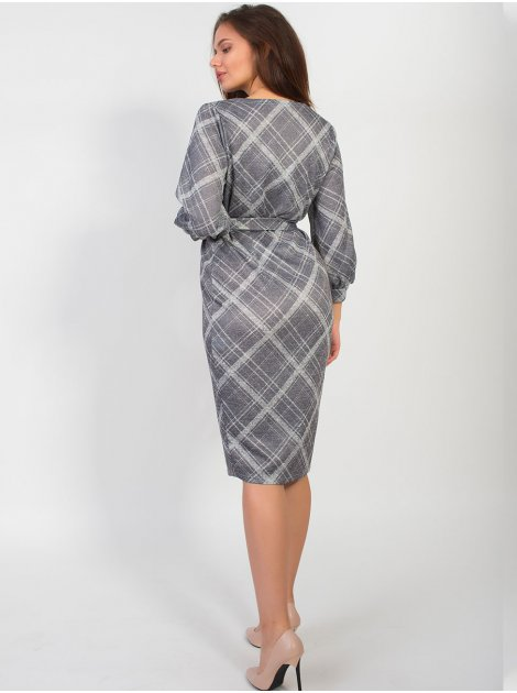 Нежное платье в клетку с поясом и четвертным рукавом. Арт.2611