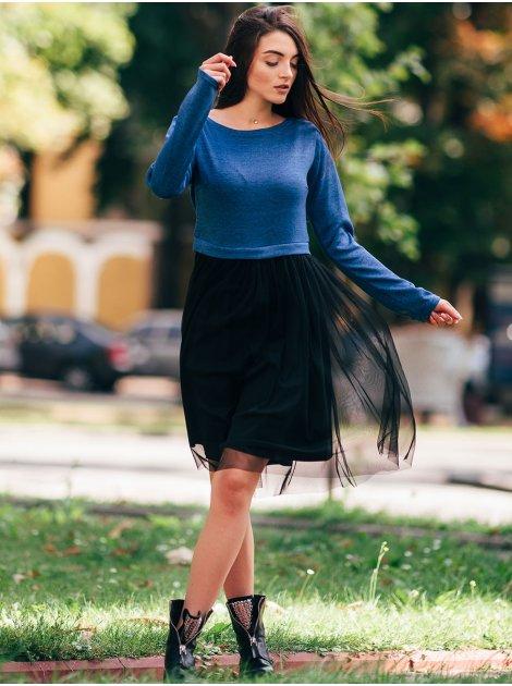 Комбинированное платье с нежной фатиновой юбкой. Арт.2639