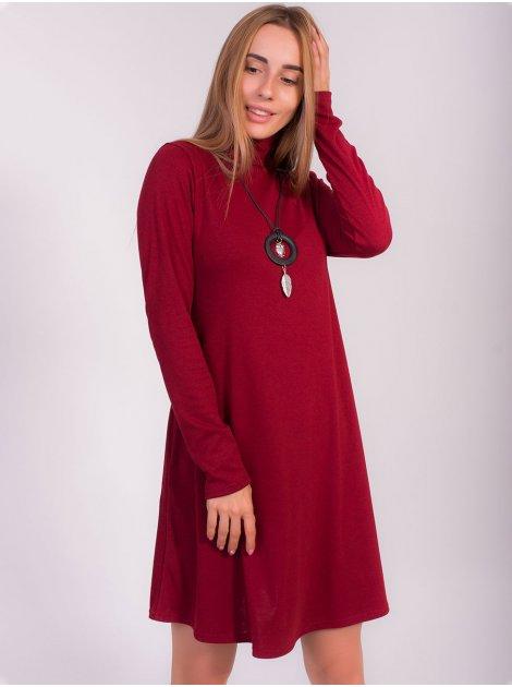 Трикотажное платье трапеция с кулоном 2842