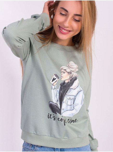 """Свитшот """"девушка с кофе"""" 2835"""