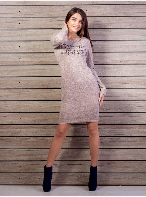 Платье с карманами, спереди принтованная надпись. Арт.2103