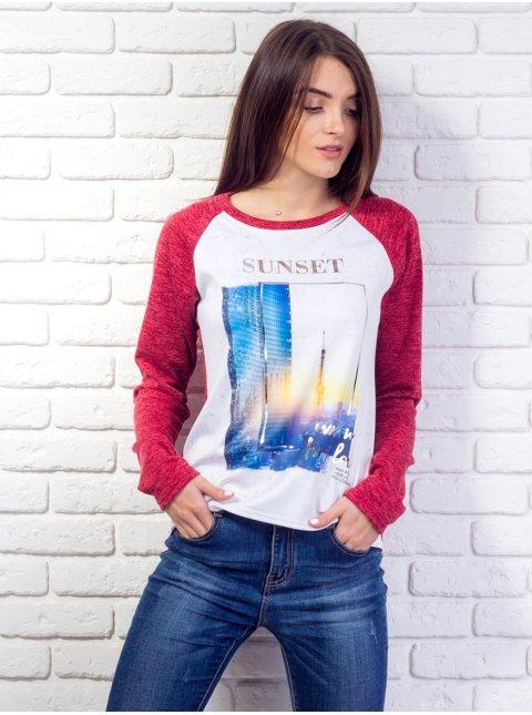 """Комбинированная кофта с принтом """"Sunset"""". Арт.2080"""