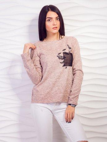 Свободный свитер с декоративным карманом. Арт.2107