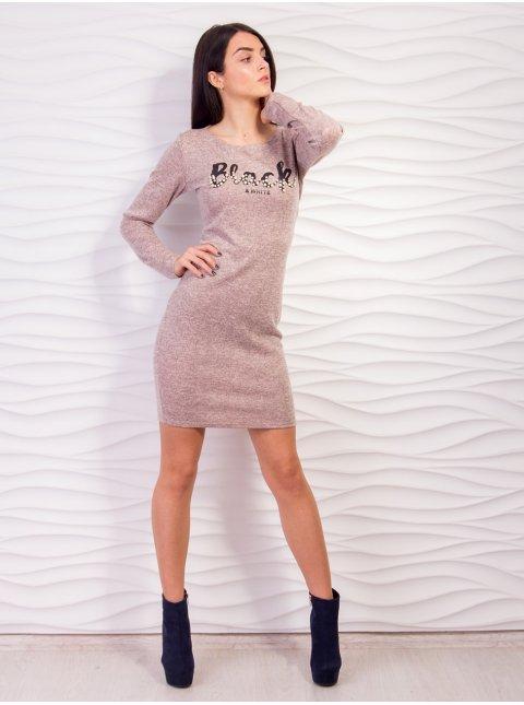 Трикотажное платье с длинным рукавом. Арт.2128