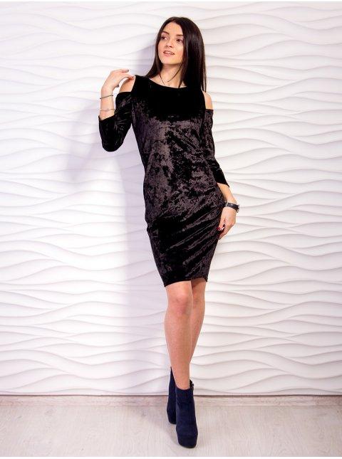 Платье из велюра облегающего кроя. Арт.2134