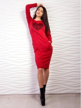Приталенное платье миди с аппликацией. Арт.2158