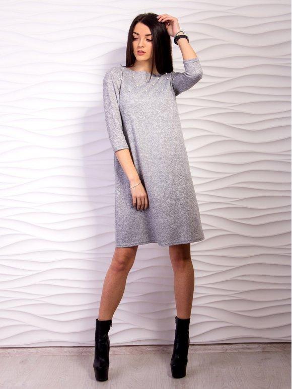 Платье А-силуэта с бусинками. Арт.2161