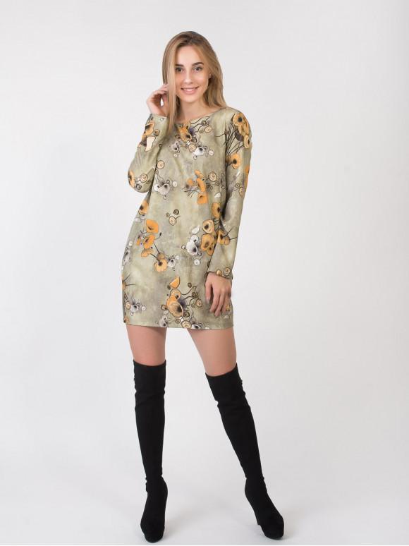 Свободное платье в цветочный принт 2808