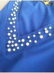 Нарядная однотонная блуза, декорированная жемчугом. Арт.2381