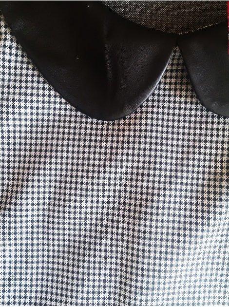 Костюм: кофта из ткани в клетку с кожаным воротником + юбка-карандаш. Арт.2394