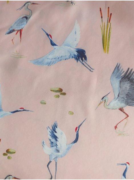 Трендовая майка из ткани с птицами 3061