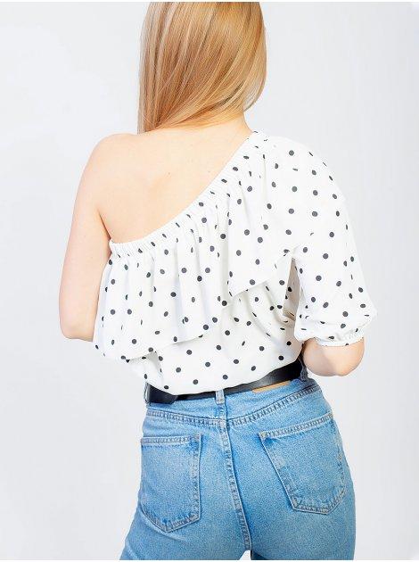 Стильная блуза на одно плечо с рюшей 2949