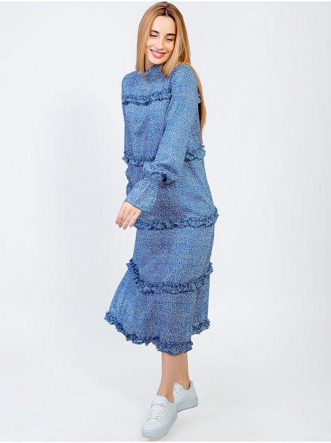 Модное платье миди с рюшами 2950