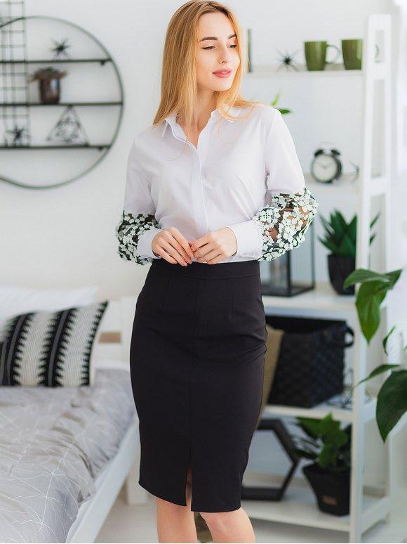Блуза з мереживними рукавами 2934