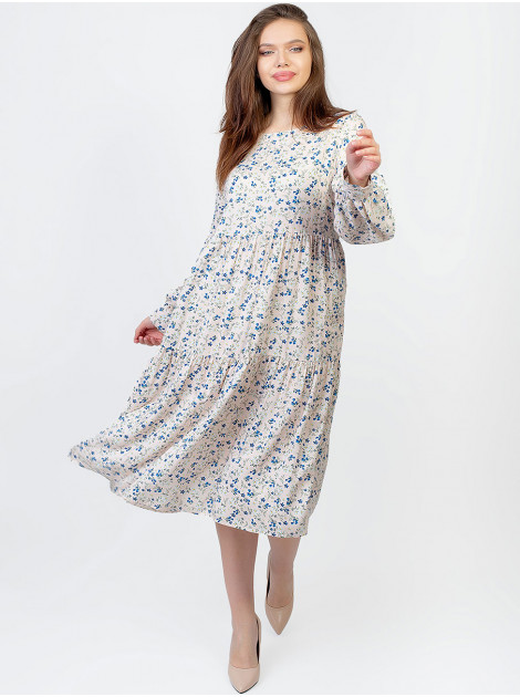 Свободное платье size+ в цветочный принт 2959