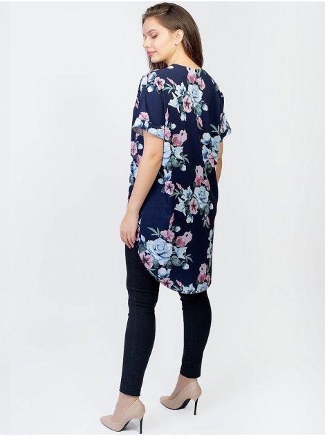 Блуза size+ с удлиненной спинкой и V-образным вырезом 2963