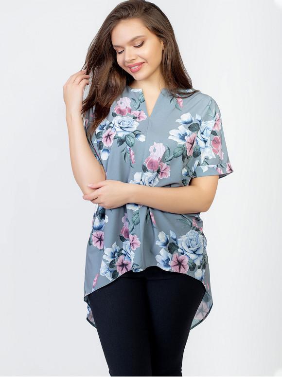 Блуза size+ з подовженою спинкою і V-подібним вирізом 2963