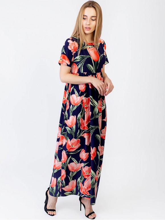 Ніжна довга сукня в квітковий принт 2965