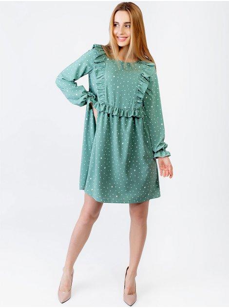 Свободное платье в горошек с рюшами 2957
