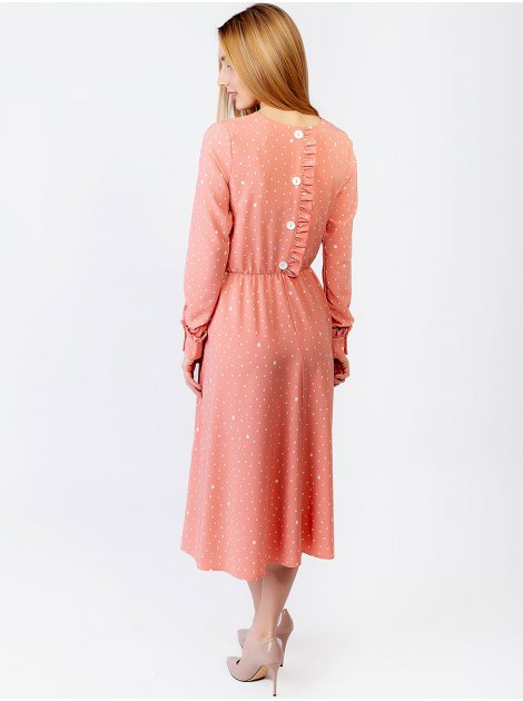 Красивое платье с декоративными пуговицами и рюшей по спинке 2958