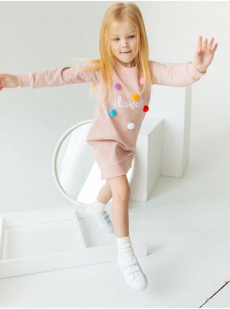 Детское платье с вышивкой и помпонами 10015