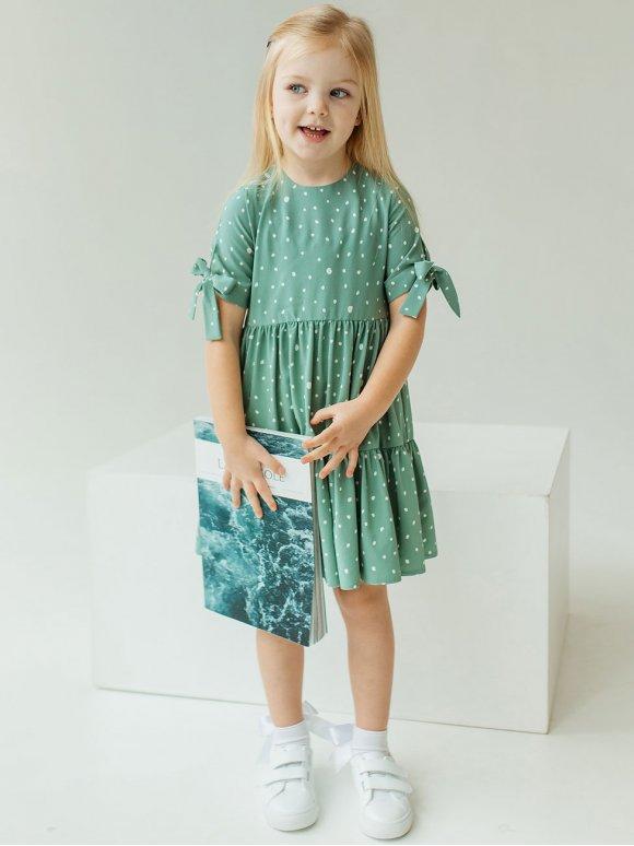 Платье на девочку в горох с завязками на рукавах 10020