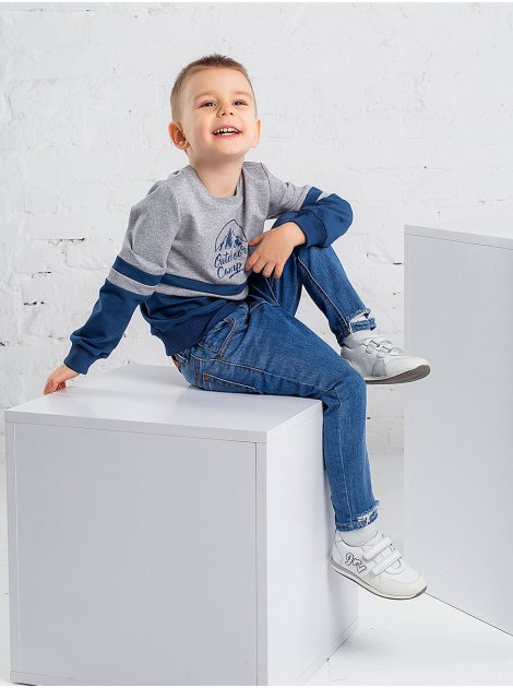 Комбинированный детский свитшот с принтом 10011