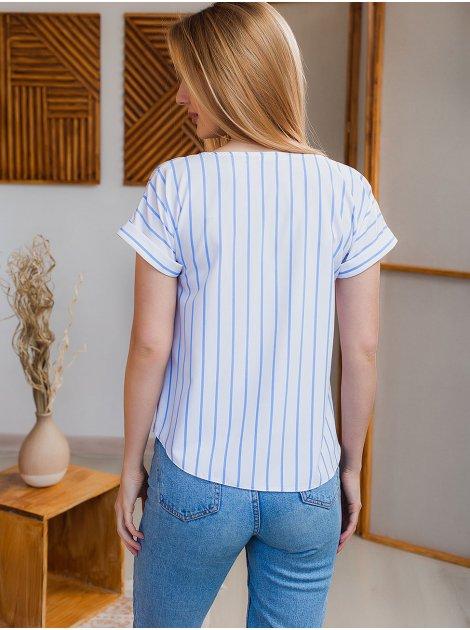 Блузка на короткий рукав в полоску 2962