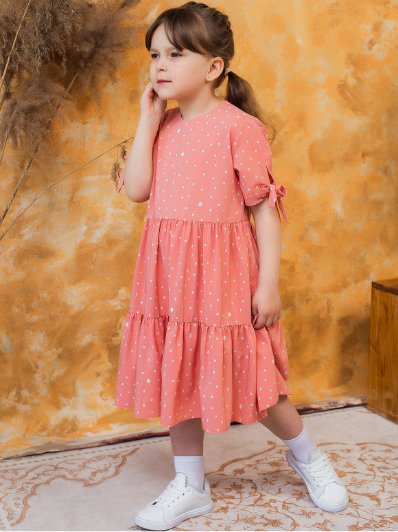 Сукня на дівчинку в горох з зав'язками на рукавах 10020