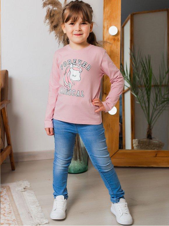 Трендовий дитячий лонгслів з єдинорогом 10024